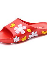 Для женщин Тапочки и Шлепанцы Удобная обувь Полиуретан Лето Повседневные Цветы На плоской подошве Белый Черный Красный На плоской подошве