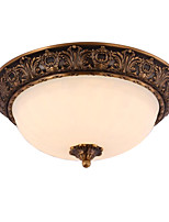 Country tradicional artístico latão 2 light flush mount ceiling fixture