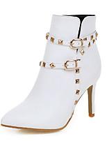 Для женщин Ботинки Модная обувь Дерматин Зима Повседневные Для праздника Заклепки Пряжки Молнии На шпильке Белый Черный Бежевый Розовый7