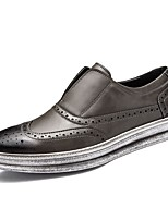 Men's Oxford Comfort Fall Winter Real Leather Oxford PU Leather Casual Office & Career Flat Heel Coffee Gray Black Flat
