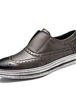 Для мужчин Туфли на шнуровке Удобная обувь Осень Зима Натуральная кожа Оксфорд Кожа Полиуретан Повседневные На плоской подошве Черный