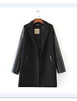 Для женщин Спорт На выход Весна Осень Кожаные куртки Лацкан с тупым углом,Простой Однотонный Обычная Длинный рукав,Другое