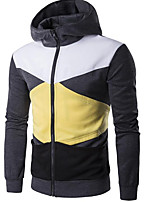 Men's Going out Casual/Daily Street chic Hoodie Color Block Hooded Micro-elastic Cotton Polyester Long Sleeve Fall Winter