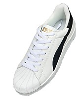 Women's Sneakers Light Soles Spring Fall PU Casual Outdoor Lace-up Flat Heel White Black Flat