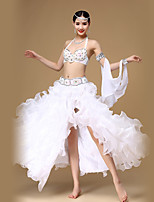 Belly Dance Outfits Women's Performance Cotton Polyester Organza Split Rhinestones Sequins White 3 Pieces  Skirts Bra Belt