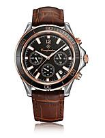 Hombre Reloj Deportivo Reloj de Moda Chino Cuarzo Acero Inoxidable Piel Banda Casual Elegantes Marrón Oro Rosa