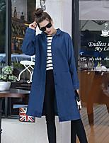 Feminino Jaqueta jeans Casual Simples Primavera Outono,Sólido Longo Algodão Gola Boba Manga Longa