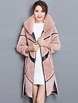 Для женщин На выход Зима Пальто с мехом Капюшон,Уличный стиль Однотонный Контрастных цветов Обычная Длинный рукав,Шерсть Полиэстер,