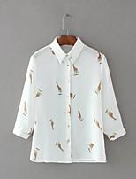 Для женщин На выход На каждый день Весна Осень Рубашка Рубашечный воротник,Простое Уличный стиль С принтом Длинный рукав,Шёлк Хлопок,