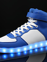 Boys' Sneakers Comfort PU Spring Fall Casual LED Lace-up Flat Heel Blue Black White Under 1in