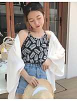 Women's Going out Vintage Summer Tank Top,Floral Boat Neck Sleeveless Polyester Thin