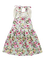 Girl's Floral Print Dress,Cotton Spring Summer Sleeveless