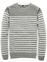 Men's Plus Size Casual/Daily Work Vintage Simple Street chic Regular Pullover,Solid Striped Color Block Round Neck Long SleeveCotton