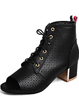 Women's Boots Fashion Boots Summer Leatherette Casual Dress Lace-up Chunky Heel Black Beige Ruby Blue 2in-2 3/4in