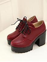 Для женщин Обувь Полиуретан Лето Удобная обувь Обувь на каблуках Назначение Повседневные Черный Красный Синий