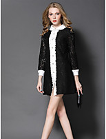 GODDESS PIER Women's Going out Cute Sheath DressColor Block Shirt Collar Above Knee Long Sleeve Polyester Fall Mid Rise Micro-elastic Medium