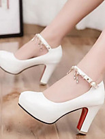 Women's Heels Comfort Summer PU Casual White Black Beige Red Blushing Pink 3in-3 3/4in