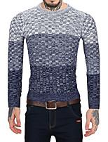 Для мужчин На каждый день Офис Винтаж Простое Обычный Пуловер Полоски Контрастных цветов,Круглый вырез Длинный рукав Шерсть Искусственный