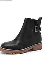 Women's Shoes PU Fall Winter Comfort Boots For Casual Black Coffee