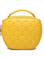 Women Tote Cowhide All Seasons Casual Outdoor Round Zipper Yellow Black Blue