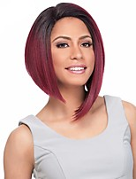 Short Middle Parting Bobo Capless Wig Heat Resistant Rose Red Color with Dark Roots