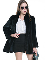 Women's Plus Size Going out Simple Fall Winter Fur Coat,Solid Stand Long Sleeve Regular Faux Fur