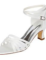 Femme Chaussures de mariage Escarpin Basique Satin Elastique Eté Mariage Habillé Noeud Boucle Gros Talon Ivoire 5 à 7 cm