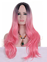 Middle Long  Wavy Synthetic Omber Light Pink Two Tone Color Synthetic Women Cosplay Wigs