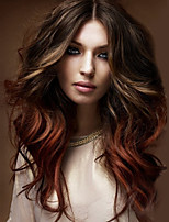 Popular Multi Color Middle Long Blonde Brown Wave Synthetic Hair Daily Wigs for Women