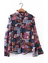 Damen Solide Druck Einfach Aktiv Ausgehen Lässig/Alltäglich Bluse,Rundhalsausschnitt Sommer Herbst Langarm Seide Baumwolle PolyesterDünn