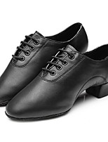 Men's Latin Faux Leather Full Sole Practice Chunky Heel Black Under 1