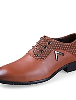 Men's Shoes Real Leather Nappa Leather Cowhide Spring Fall Comfort Formal Shoes Driving Shoes Oxfords Lace-up For Wedding Casual Party &