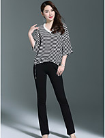 1898 Women's Going out Cute T-shirtStriped V Neck 3/4 Length Sleeve Polyester
