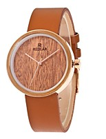 Жен. Модные часы Часы Дерево Японский Кварцевый деревянный PU Группа С подвесками Элегантные часы Коричневый