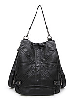 Women Bags All Seasons Sheepskin Backpack with for Casual Black