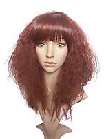жен. Парики из искусственных волос Без шапочки-основы Длиный Kinky Curly Красный Для темнокожих женщин Парик из натуральных волос