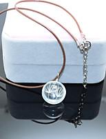 Жен. Ожерелья с подвесками Круглой формы Кожа Мода Цветочный принт Бижутерия Назначение Свадьба Для вечеринок День рождения Повседневные