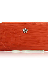 Women Checkbook Wallet Cowhide All Seasons Daily Casual Rectangle Zipper Ruby Orange Black