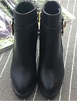 Women's Boots Comfort Winter PU Casual Black 4in-4 3/4in