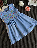Girl's Embroidered Dress,Rayon Summer Sleeveless