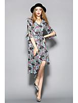 Для женщин На каждый день Оболочка Платье Цветочный принт С принтом,V-образный вырез До колена Рукав до локтя Полиэстер ЛетоСо