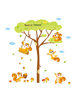 Wall Stickers Wall Decas Style Lovely Squirrel Playing on The Swing PVC Wall Stickers