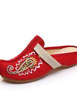 Для женщин Обувь Ткань Весна Удобная обувь Тапочки и Шлепанцы Назначение Повседневные Черный Бежевый Красный