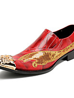 Men's Oxfords Formal Shoes Comfort Novelty Spring Fall Nappa Leather Wedding Office & Career Party & Evening Rivet Flat Heel Ruby Flat