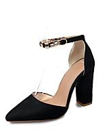Для женщин Обувь на каблуках Удобная обувь Полиуретан Весна Черный Бежевый Розовый Более 12 см