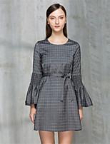 Trapèze Robe Femme Décontracté / Quotidien simple,Tartan Col Arrondi Au dessus du genou Manches 3/4 Polyester Automne Taille Normale