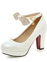 Mujer Tacones Zapatos formales Semicuero Primavera Boda Vestido Fiesta y Noche Pedrería Pajarita Tacón Robusto Blanco Azul Rosa7'5 - 9'5