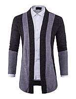 Men's Going out Casual/Daily Simple Long Cardigan,Color Block Shirt Collar Long Sleeves Cotton Spring Fall Medium Stretchy