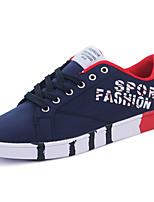 Для мужчин Кеды Удобная обувь Резина Весна Шнуровка На плоской подошве Белый Черный Синий Менее 2,5 см