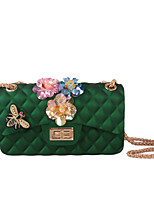 Women Bags All Seasons Silica Gel Shoulder Bag with Rhinestone Appliques Sparkling Glitter Bead Seemless Sequined Floral Petals Pattern